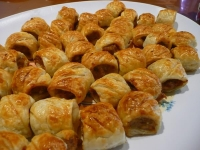 Mustard and chive sausage rolls
